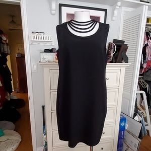 DIANE VON FURSTENBERG BLACK SLVLESS DRESS 14 EUC
